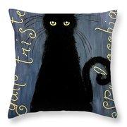 Sad And Ruffled Cat Throw Pillow by Donatella Muggianu