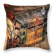 Saddle And Chest Throw Pillow by Marty Koch