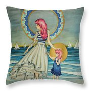 Sail Away Throw Pillow by Lucy Stephens