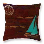 Sail Sail Sail Away - J173131140v3c4b Throw Pillow by Variance Collections