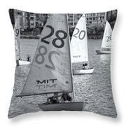 Sailboats on the Charles River II Throw Pillow by Clarence Holmes