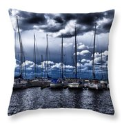 sailboats Throw Pillow by Stylianos Kleanthous