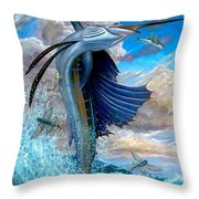 Sailfish And Flying Fish Throw Pillow by Terry Fox