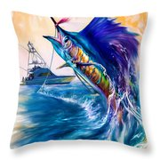 Sailfish And Sportfisher Art Throw Pillow by Savlen Art