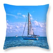 Sailing Off Of Key Largo Throw Pillow by Chris Thaxter