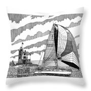 Holland Harbor Lighthouse and spinaker flying sailboat Throw Pillow by Jack Pumphrey