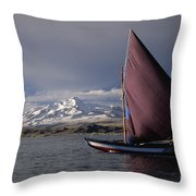 Sailing on Lake Titicaca Throw Pillow by James Brunker