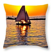 Sailing Silhouette Throw Pillow by Frozen in Time Fine Art Photography
