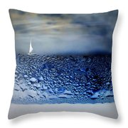 Sailing The Liquid Blue Throw Pillow by Joyce Dickens