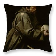Saint Francis in Meditation Throw Pillow by Michelangelo Merisi da Caravaggio