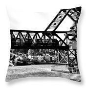 Salmon Bay Bridge Throw Pillow by Benjamin Yeager