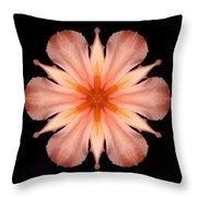 Salmon Daylily I Flower Mandala Throw Pillow by David J Bookbinder