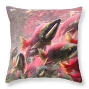 Salmon Run - Square - Painterly - 2013-0103 Throw Pillow by Wingsdomain Art and Photography