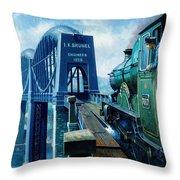 Saltash Bridge. Throw Pillow by Mike  Jeffries