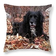 sammi smiling in leaves Throw Pillow by Randi Shenkman