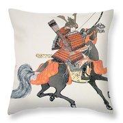 Samurai Throw Pillow by Japanese School
