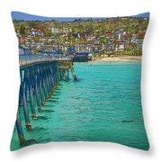San Clemente Pier Throw Pillow by Joan Carroll