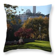 San Francisco Coit Tower At Levis Plaza 5D26217 Throw Pillow by Wingsdomain Art and Photography