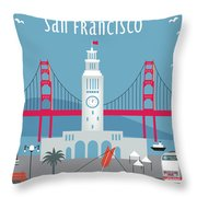San Francisco Ferry Building Throw Pillow by Karen Young