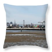 San Francisco Skyline And The Bay Bridge Through The Port Of Oakland 5d22238 Throw Pillow by Wingsdomain Art and Photography