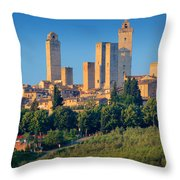 San Gimignano Skyline Throw Pillow by Inge Johnsson