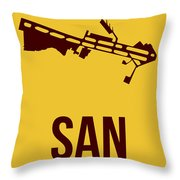 San San Diego Airport Poster 1 Throw Pillow by Naxart Studio