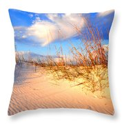 Sand Dune And Sea Oats At Sunset Throw Pillow by Thomas R Fletcher