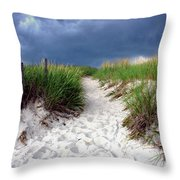 Sand Dune Under Storm Throw Pillow by Olivier Le Queinec