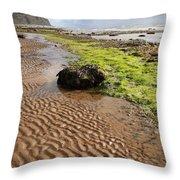 Sand Patterns On Robin Hoods Bay Beach Throw Pillow by Deborah Benbrook