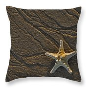 Sand Prints And Starfish  Throw Pillow by Susan Candelario