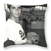 Sandy Koufax Photo Portrait Throw Pillow by Gianfranco Weiss