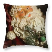 Santa Claus - Antique Ornament - 18 Throw Pillow by Jill Reger