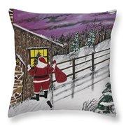 Santa Claus Is Watching Throw Pillow by Jeffrey Koss