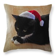Santa Kitty Throw Pillow by Cheryl Young