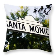 Santa Monica Blvd Street Sign In Beverly Hills Throw Pillow by Paul Velgos