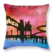Santa Monica Pier Red Throw Pillow by Tony B Conscious