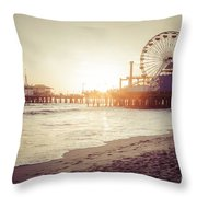 Santa Monica Pier Retro Sunset Picture Throw Pillow by Paul Velgos