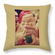 Santa Whispers Vintage Throw Pillow by Toni Hopper
