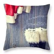 Santa's Boots Throw Pillow by Amanda And Christopher Elwell