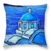 Santorini  Blue Throw Pillow by Ana Maria Edulescu