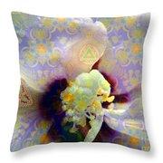 Satin Flower Fractal Kaleidoscope Throw Pillow by Renee Trenholm