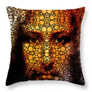Savior - Stone Rock'd Jesus Art By Sharon Cummings Throw Pillow by Sharon Cummings