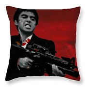 Say Hello To My Little Friend  Throw Pillow by Luis Ludzska