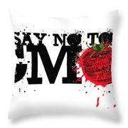 Say No to GMO graffiti print with tomato and typography Throw Pillow by Sassan Filsoof