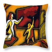 School Throw Pillow by Leon Zernitsky