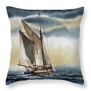 Schooner Throw Pillow by James Williamson