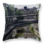 Schuylkill Canal In Manayunk Throw Pillow by Bill Cannon