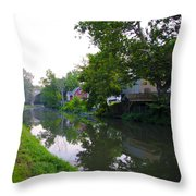 Schuylkill Canal Mont Clare Throw Pillow by Bill Cannon