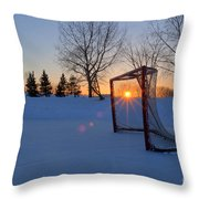 Scoring The Sunset Throw Pillow by Darcy Michaelchuk