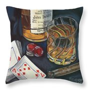 Scotch And Cigars 4 Throw Pillow by Debbie DeWitt